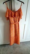 BNWT Womens F&F Summer Paisley Dress Size 16 Orange and White Boho Holiday Party