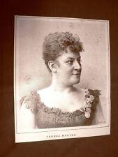 Raro ritratto del Soprano Teresa Malten del 1891 Teatro