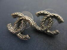 Authentic CHANEL CC pierced  earrings  (gun metal)