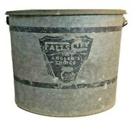Vintage Minnow Bucket Falls City The Angler's Choice Galvanized Oval Bucket 2pc