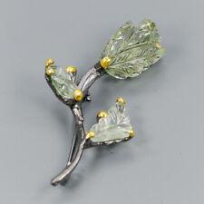 Handmade28ct+ Natural Green Amethyst 925 Sterling Silver Brooch /NB06998