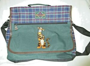POOH Lap Top Bag with Tigger on Front Green Plaid Canvas Adjustable Strap