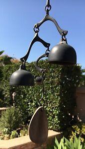 BRONZE WIND BELL Vtg Artist Richard Fisher Midcentury Modern Garden Chime Mobile