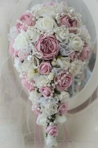 wedding brides BOUQUET IN VINTAGE/ dusky pink AND IVORY PEARLS, FOAM ROSES