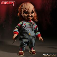 """Child's Play 15"""" Scarred Talking Chucky Mega Scale Figure With Sound Mezco Doll"""