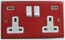 13 AMP SWITCHED DOUBLE SOCKET OUTLET WITH TWO USB SOCKETS RED STEEL WHITE INSERT