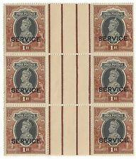 India 1939 1R George VI Officials Overprint Sc# O100 - Block Of 6 Stamps