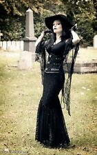 Black Gothic Lace Fishtail Skirt by Sinister - Size Small