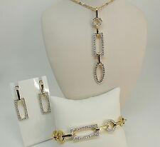 0b37c9e2426f Conjunto de Swarovski firmado Daphne Collar Aretes Pulsera Oro Plateado  perforado N46