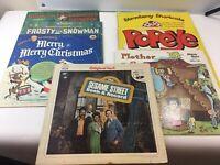 CLASSIC CHILDREN'S VINYL LP'S LOT OF 7 Popeye Strawberry Shortcake Sesame Street