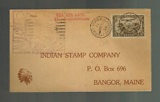 1929 Canada St John to Ottowa First Flight Card Cover FFC Indian Stamp Company