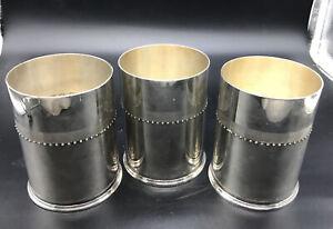 Lot of 3 Wedgwood Vera Wang Grosgrain Silver Plate Metal Vase Candleholders