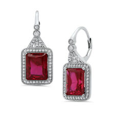 NEW STERLING SILVER .925 WHITE CZ SYNTHETIC RED RUBY DANGLING EARRINGS