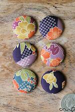 6 Handmade Japanese Patterns Floral Black Flat Back Buttons Craft 40L 25mm VAT