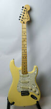 FENDER DELUXE ROADHOUSE STRATOCASTER VINTAGE WHITE PEARLOID S1 NICE YELLOW STRAT
