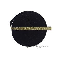 "5 Yard 3/8"" Gold Metallic Glitter Elastics Spandex Bands Bra Strap Lingerie Trim"