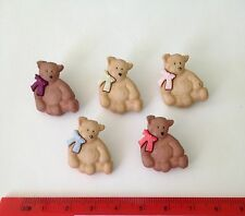 Brown Bear Buttons with bows by Dress It Up Jesse James Buttons 2266