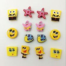 Popular Sponge Bob Charmss Shoe Charms for Bracelets/Bands/Clog/Jibitz  12pcs
