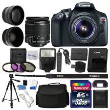 Canon EOS Rebel T6 Digital SLR Camera 3 Lens Kit + 32GB Multi Accessory Bundle
