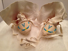 Vintage Infant Toddler Native American Moccasins Beadwork Ties Tanned Leather