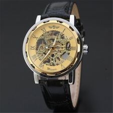 Transparent Skeleton Men's Mechanical Wrist Watch Sport Leather Stainless Steel