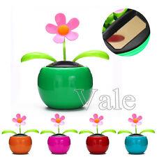 1x 2x Solar Power Flip Flap Swing Flower For Car Auto Dance Toy Home Decor Gift
