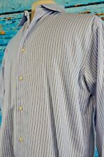 Hickey Freeman Men's Shirt Size 16.5 Cotton Button Down Career Striped Large