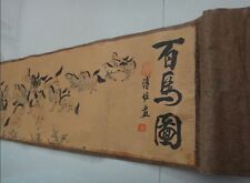 "Chinese Ancient picture silk paper ""100 horse "" Scroll painting"