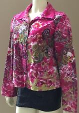 Womens Candy Couture Boho Paisley Funky Colorful Sequin Beaded Blazer Jacket L