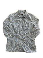 Sportscraft Womens Blue Floral Button Up Collared With Chest Pockets Shirt Sz 8