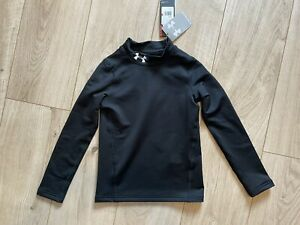 Under Armour Boys Kids Black Base Layer Exercise Top, Age 5-6 BNWT