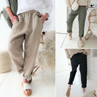 ZANZEA Women Elastic Waist Casual Harem Pants Trousers Cotton Ethnic Long Pants