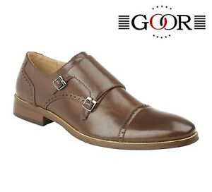Mens Goor Real Leather Formal Smart Casual Office Dress Slip On Monk Strap Shoes