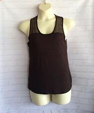 JEANSWEST Ladies Brown Tank T-Shirt Sheer Sequin Pre-Loved Size XL  (16)