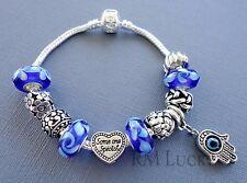European style Charm Bracelet. Blue Murano Glass beads. Charm Hamsa S82