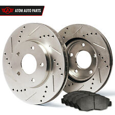 2001 2002 Dodge Caravan w/Rear Drum (Slotted Drilled) Rotors Metallic Pads F