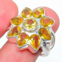 Aaa+++ Citrine 925 Sterling Silver Jewelry Ring S.7 T277095