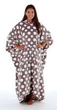 Ladies Soft Luxury Fleece Hooded Lounger Poncho. Grey/White Spot Design One Size