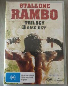 Rambo Trilogy 3 DVD Disc Set Rambo 1 + 2 + 3 Stallone Like New Free Postage
