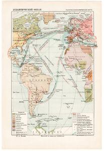 1936 MAP of Atlantic Ocean USSR OGIZ RSFSR USA Canada Africa Old Soviet Rare