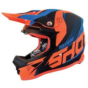 Shot Ultimate Motocross MX Youth Kids Child  Motorcycle Helmet Blue Neon Orange