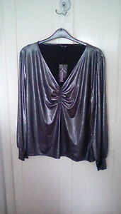 Yours Ltd collection - metallic silver ruched blouse, size 26