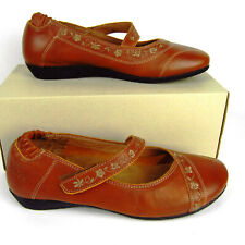 Taos Brown Leather Comfort Walking Mary Janes Flats Shoes Womens 37 US Sz 6-6.5
