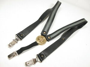Genuine Gianni Versace Suspenders Medusa Gurkha Leather Men Black