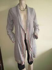 Per Una ~ Long Open Front Natural Beige Soft Wool Blend Cardigan ~ Size 12