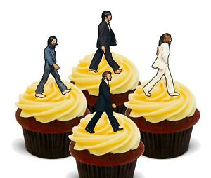 The Beatles Abbey Road Pack of 12 Edible Cup Cake Toppers, Fairy Bun Decorations