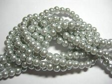 "Silver 6mm Glass Pearls beads WOW 30"" strand"