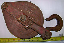 TWO-TON CROSBY SNATCH BLOCK, WITH HOOK.  HEAVILY USED, BUT GOOD SHAPE.