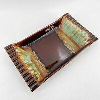 VTG USA Pottery Large Ashtray Turquoise Brown Drip Glaze Ceramic Mid Century Mod