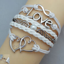 New Fashion Infinity Love Heart Wing Pearl Antique  Leather Charm Bracelet